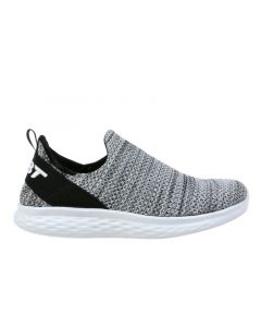 ROME-100 Air Mesh Women's Slip On Fitness Walking Shoe in Grey White